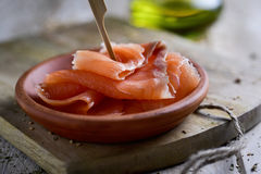 Slices of smoked salmon Stock Photography