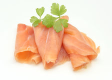 Slices of smoked salmon. On white background Royalty Free Stock Images