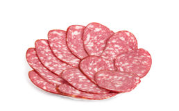 Slices of smoked sausage Royalty Free Stock Photography