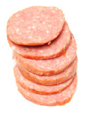 Slices of smoked sausage Stock Images