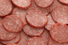 Slices of smoked sausage Stock Photography