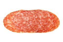 Slices of Smoked Sausage salami  isolated Royalty Free Stock Photography