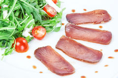 Slices of smoked tuna. stock photo