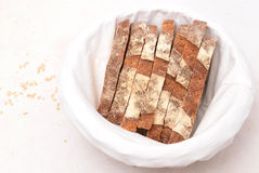 Slices of sourdough bread in a basket Royalty Free Stock Photography