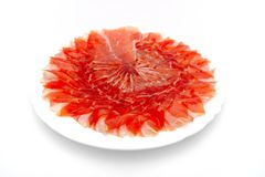 Slices of spanish ham Stock Photos