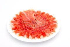 Slices of spanish ham Stock Images