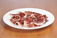Slices of spanish ham Royalty Free Stock Photo