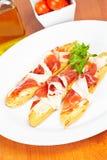 Slices of spanish ham Stock Images