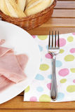 Slices of spanish ham and bread Royalty Free Stock Images