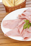 Slices of spanish ham and bread Royalty Free Stock Image