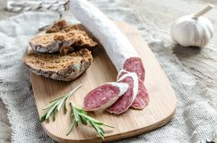 Slices of spanish salami Royalty Free Stock Photography