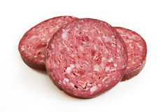 Slices of sucuk sausage Stock Photography