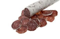 Slices of summer sausage Royalty Free Stock Photography