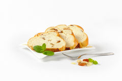 Slices of sweet braided bread Stock Image