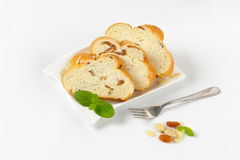 Slices of sweet braided bread Royalty Free Stock Image