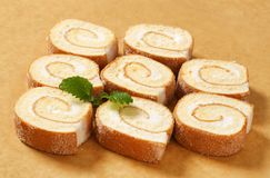 Slices of Swiss roll Stock Photography