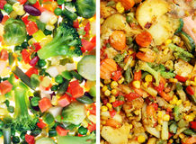 Slices of t vegetables in raw and fried Stock Photos