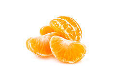 Slices of tangerine on white background Stock Images