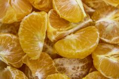 Lobules of mandarins. Slices of tangerines on a plate as a background royalty free stock photo