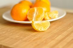 The slices of tangerines on plate Royalty Free Stock Photos