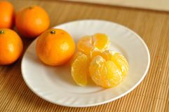 The slices of tangerines on plate Stock Image