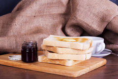 Slices of toast against a rustic background Stock Photo