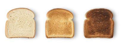 Slices toast bread. Set of three slices toast bread isolated on white royalty free stock photo