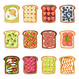 Slices of toast with butter jamflat cartoon style vector illustration. Stock Photo