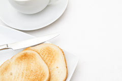 Slices of toast with a cup Royalty Free Stock Photography