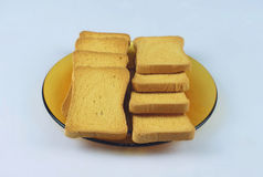 Slices of toasted biscuit. Toast biscuit, breakfast wonderful idea, especially combined with caviar, halva and buter Royalty Free Stock Images