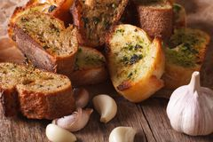 Slices of toasted bread with herbs and garlic. horizontal, rusti Royalty Free Stock Image