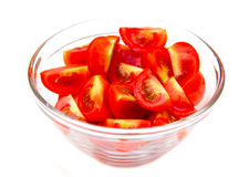 Slices of tomato on bowl Royalty Free Stock Images