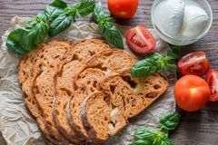 Slices of tomato bread with mozzarella Royalty Free Stock Image
