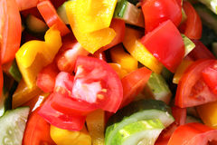 Slices of tomatoes and cucumbers Royalty Free Stock Images