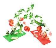 Slices of tomatoes and cucumbers with with parsley leaves royalty free stock photos