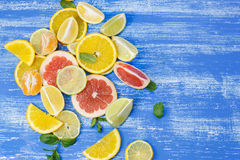 Slices of various citrus fruits Royalty Free Stock Images