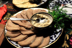 Slices of veal tongue Royalty Free Stock Photography