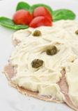 Slices of veal with tuna sauce and capers Stock Images