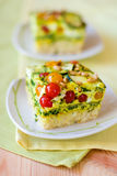 Slices of vegetable gratin(quiche) Royalty Free Stock Images
