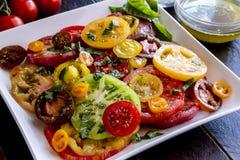Slices of vine ripe tomato varieties Stock Images