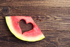 Slices of watermelon with cut in the shape of heart Royalty Free Stock Photography