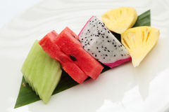 Slices of watermelon and fruits Royalty Free Stock Photo