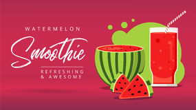 Slices of watermelon with glass of fresh juice web ad background. Juicy refreshing cocktail drink. Sweet healthy summer fruit smoothie. Organic refreshment royalty free illustration