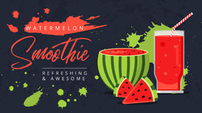Slices of watermelon with glass of fresh juice web ad background. Juicy refreshing cocktail drink. Sweet healthy summer fruit smoothie. Organic refreshment stock illustration