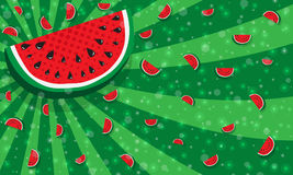 Slices of watermelon on green color background from rays, stripes. With many tiny glowing pieces, bokeh. Slices of watermelon on green color background from rays Stock Photos