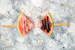 Slices Watermelon In Ice Cream Popsicle Shape Royalty Free Stock Photography