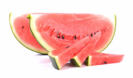 Slices of watermelon isolated on white background Stock Photo