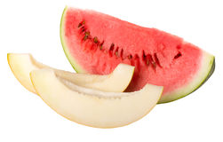 Slices of watermelon and melon Royalty Free Stock Photo