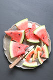 Slices of watermelon on a plate Royalty Free Stock Image