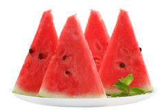 Slices of watermelon on plate  on white Royalty Free Stock Photography